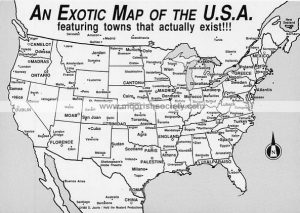 Secret Drop An Exotic Map Of The America Featuring Towns That